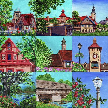 Frankenmuth Downtown Michigan Painting Collage V by Irina Sztukowski