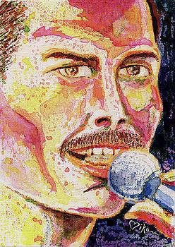 Freddie Mercury Portrait by Miko At The Love Art Shop