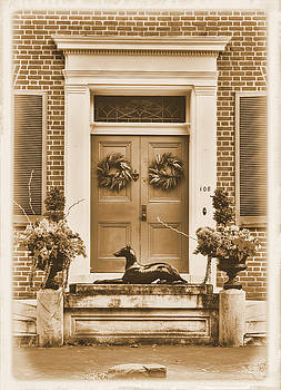 Frederick Maryland Historic District Series - ' Guess ' the Iron Dog Statue Sepia - West Church St by Michael Mazaika
