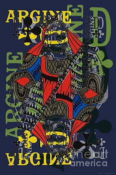 French Playing Card, Argine, Dame De Trefles, Queen of Clovers, Pop Art - #1 by Jean luc Comperat