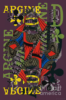French Playing Card, Argine, Dame De Trefles, Queen of Clovers, Pop Art - #2 by Jean luc Comperat