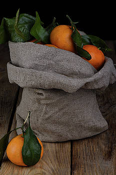 Fresh tangerines in a bag of coarse fabric. by Sergei Dolgov