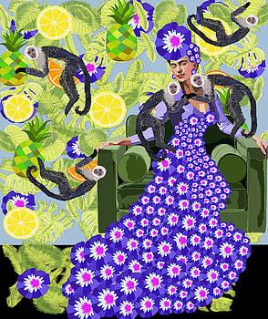 Frida Kahlo in Purple by Lynnda Rakos