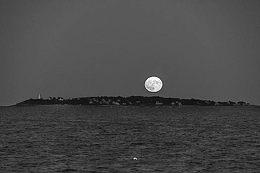 Toby McGuire - Friday the 13th Full Moon rising over Bakers Island Salem MA Black and White