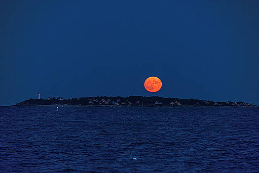 Toby McGuire - Friday the 13th Full Moon rising over Bakers Island Salem MA