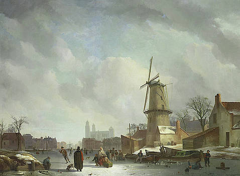 Frolicking On A Frozen Canal In A Town by Abraham Johannes Couwenberg