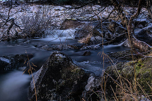 Frozen river and winter in forest. Long exposure with ND filter by Kai Mueller