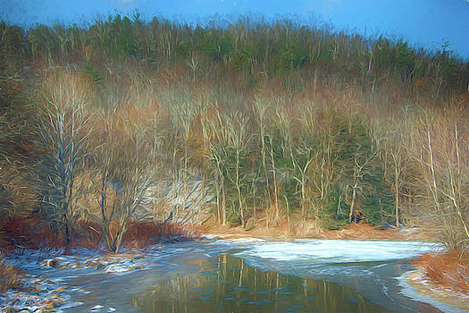 Frozen stream and mountain by Alan Goldberg