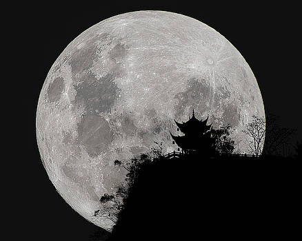 Full Moon Behind Clifftop Gazebo in Chengdu China by William Dickman