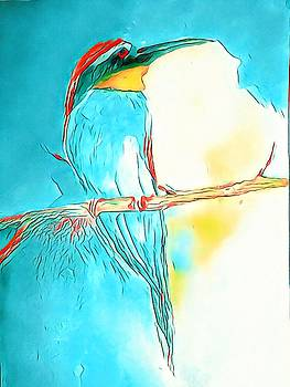 Full Moon Bird On A Branch Painting by Lisa Kaiser