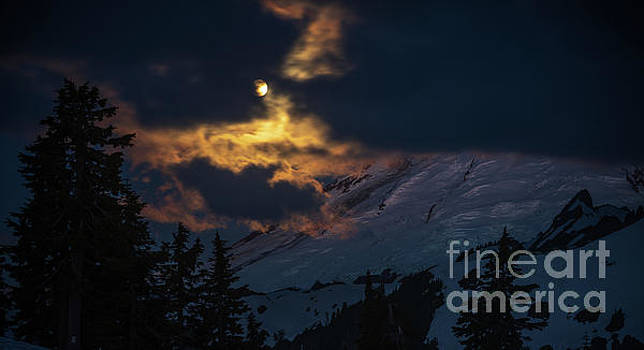 Full Moon Mount Baker Light by Mike Reid