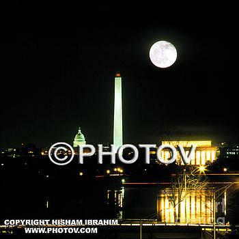 Full Moon Over Washington DC by Hisham Ibrahim