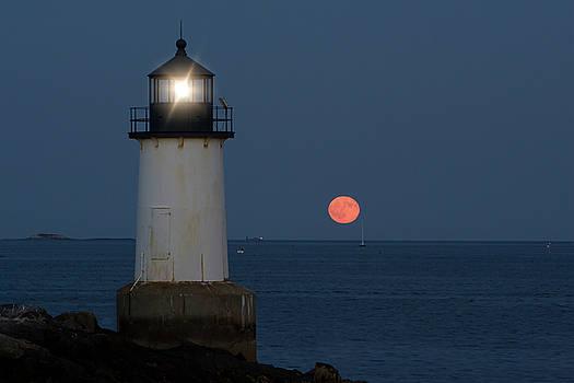 Full Moon Rising on Salem Harbor by Jeff Folger