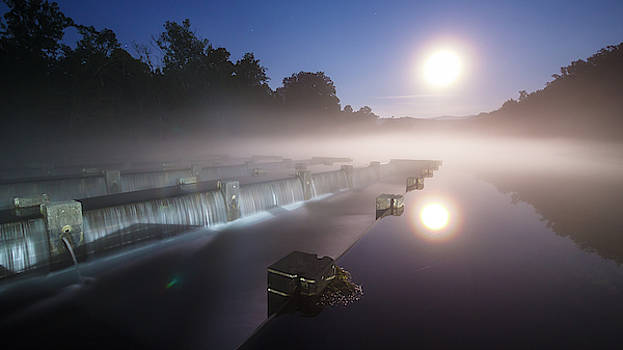 Full Moon Summer Night at the Weir Dam by Greg Booher