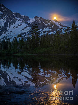 Full Moonrise Over Picture Lake by Mike Reid