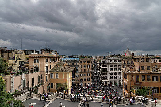 Gallivanting Around in Rome Italy - Tempestuous Sky Over the Spanish Steps by Georgia Mizuleva