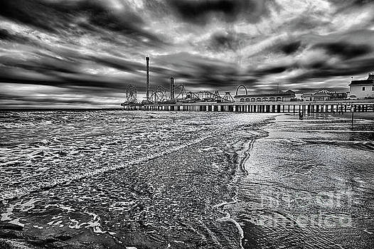 Galveston Beach in Black and White by Norman Gabitzsch