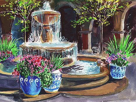 Garden Fountain Impressionism in Watercolor and Gouache  by Irina Sztukowski