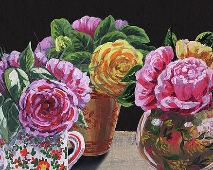 Irina Sztukowski - Garden Roses In Vases Floral Impressionism