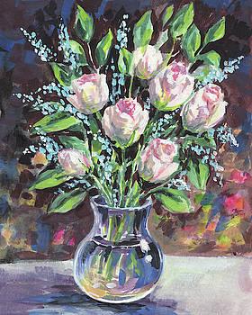 Irina Sztukowski - Gentle Pink Roses Bouquet Floral Impressionism
