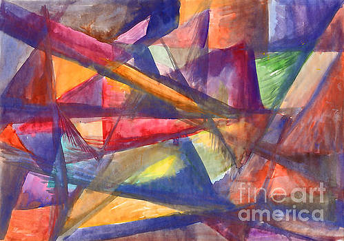 Geometric abstract painting. Multicolored rays. by Irina Dobrotsvet
