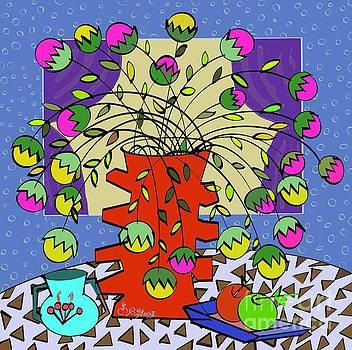 Caroline Street - Geometric Still-Life with Flowers
