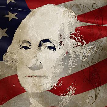 George Washington American Hero by Robert R Splashy Art Abstract Paintings