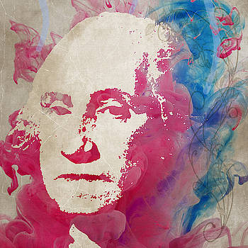 George Washington Watercolor Size 48x48 HUGE PAINTING by Robert R Splashy Art Abstract Paintings