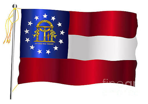 Georgia State Waving Flag And Flagpole by Bigalbaloo Stock
