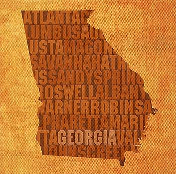 Georgia State Words Wall Art by David Bowman