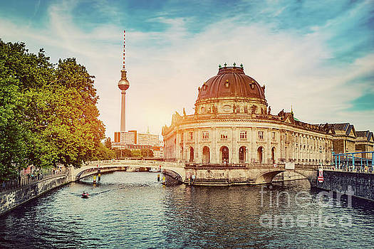 German Bode Museum and River Spree at sunset. by Michal Bednarek