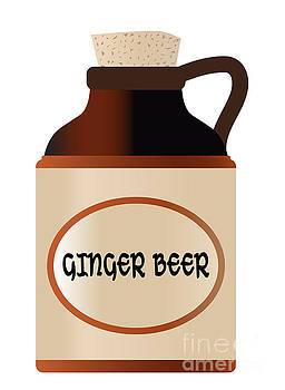 Ginger Beer Stone Bottle With Cork And Logo by Bigalbaloo Stock