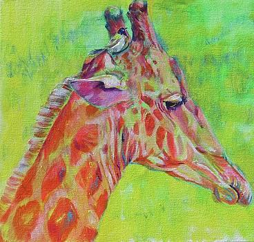 Giraffe and little friend by Karin McCombe Jones