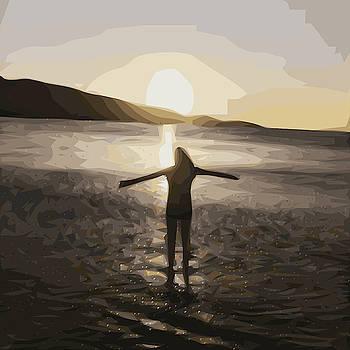 Girl on beach sunset Simplified by Tin Tran