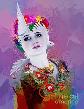 Girl With Dove 2 by Imad Abu shtayyah