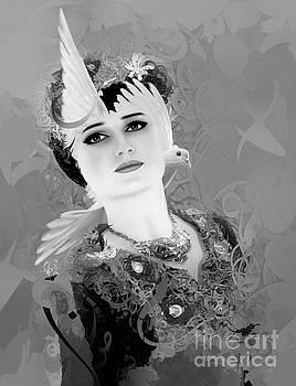 Girl With Dove 4 by Imad Abu shtayyah