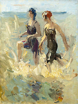 Girls running through the shallows by Isaac Israels