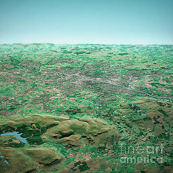 Frank Ramspott - Glasgow Scotland 3D Render Aerial Horizon View From North Sep 20