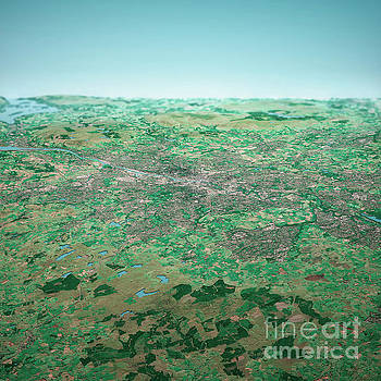 Frank Ramspott - Glasgow Scotland 3D Render Aerial Horizon View From South Sep 20