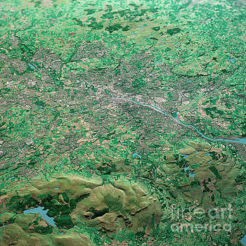 Frank Ramspott - Glasgow Scotland 3D Render Aerial Landscape View From North Sep
