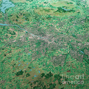 Frank Ramspott - Glasgow Scotland 3D Render Aerial Landscape View From South Sep