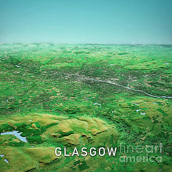 Frank Ramspott - Glasgow Scotland 3D Render Topo Horizon View From North Sep 2019