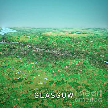 Frank Ramspott - Glasgow Scotland 3D Render Topo Horizon View From South Sep 2019