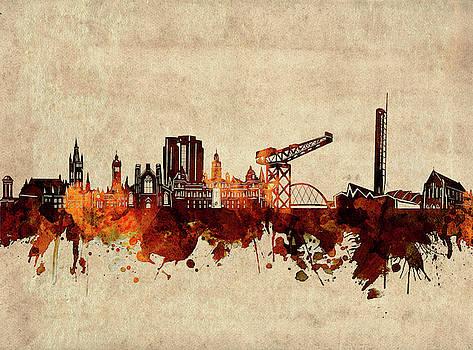 Glasgow Skyline Sepia by Bekim Art