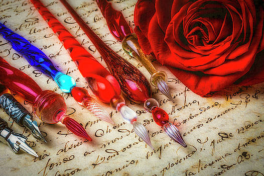Glass Pens And Red Rosa by Garry Gay