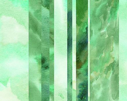 Glowing Green Lines Abstract Watercolor Decor  by Irina Sztukowski