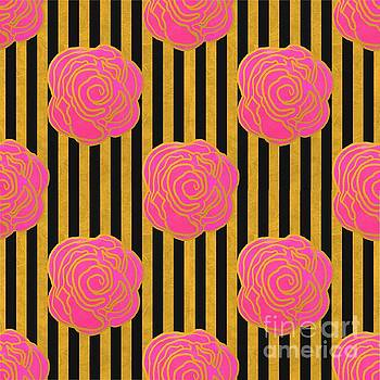Gold Foil Striped Roses by Priscilla Wolfe
