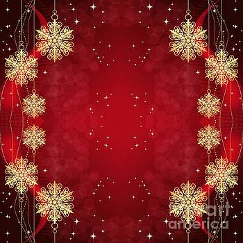 Rose Santuci-Sofranko - Golden Christmas Snowflakes and Stars Ornaments on Red