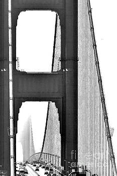 Golden Gate Abstract In B W by Diann Fisher