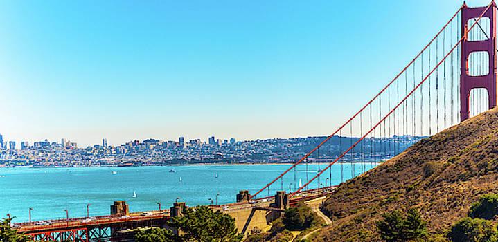 Golden Gate Bridge and San Francisco Skyline by Debbie Ann Powell